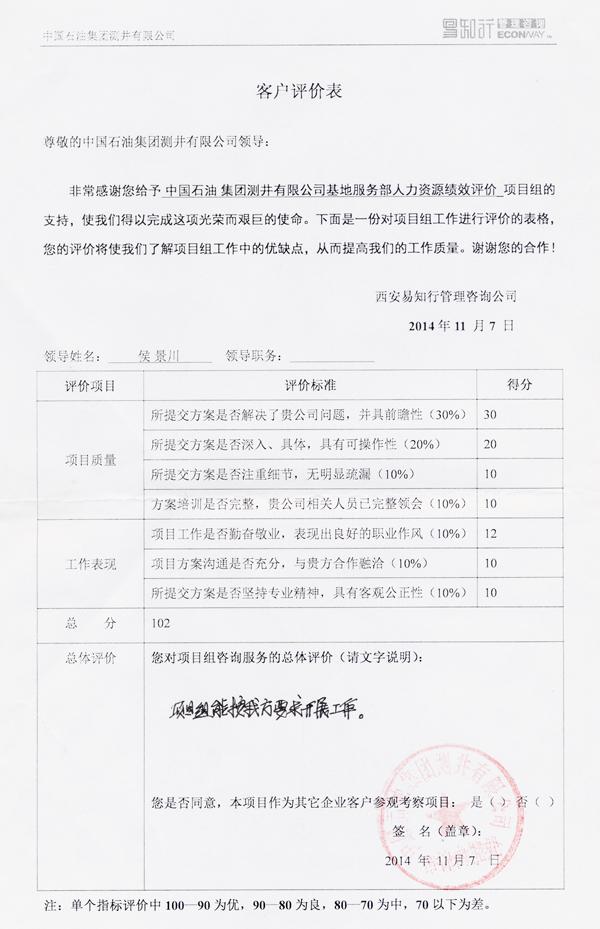 1中国石油测井客户评价表2014年11月.jpg